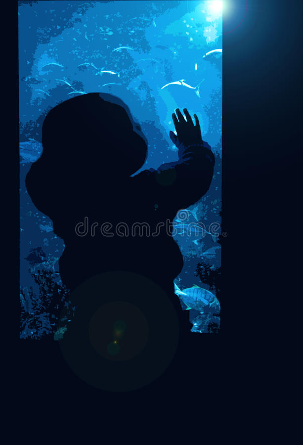 A small baby toddler watching the fish in the water with fascination. Perfect for story books for babies, toddlers, kids and children vector illustration