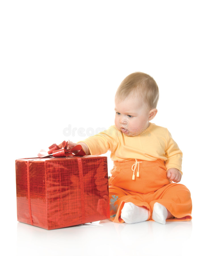 Free Small Baby With Red Gift Box 2 Isolated Stock Photo - 5713120