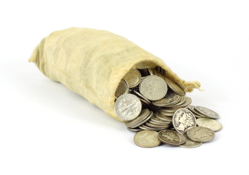 Small bag of old silver bullion stock photos