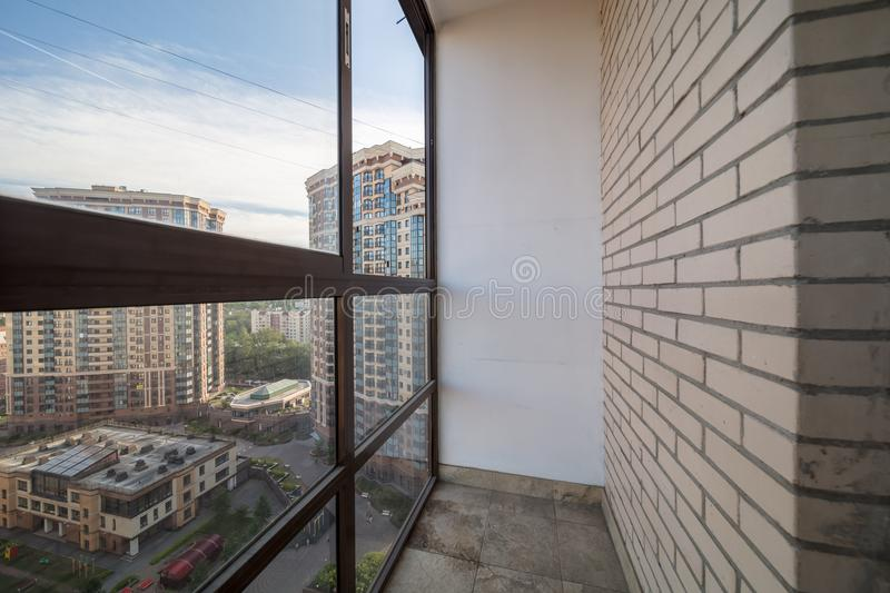 Small balcony interior. In modern apartment building royalty free stock photography