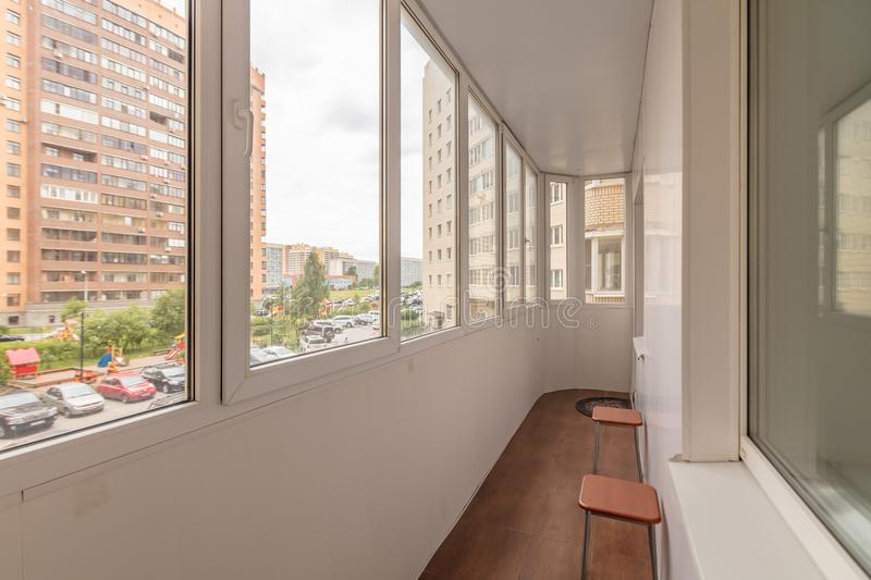 Small balcony interior. In modern apartment building royalty free stock photo