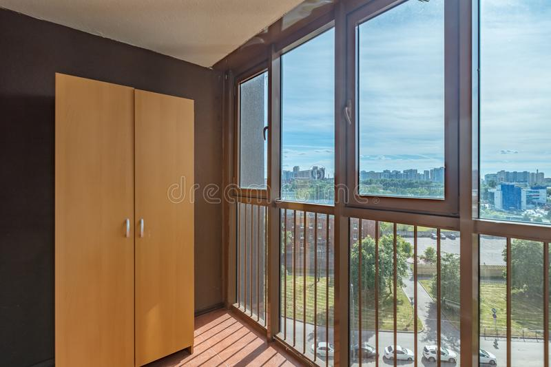 Small balcony interior. In modern apartment building stock photo