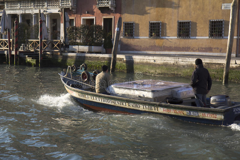 Small Barge In Venice Editorial Stock Image