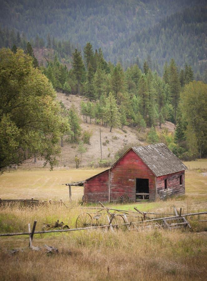 Small barn in pasture. stock photo