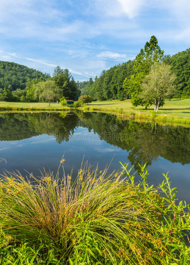 Small barn and trees frame summer pond. In North Carolina, Glen Cannon stock photography