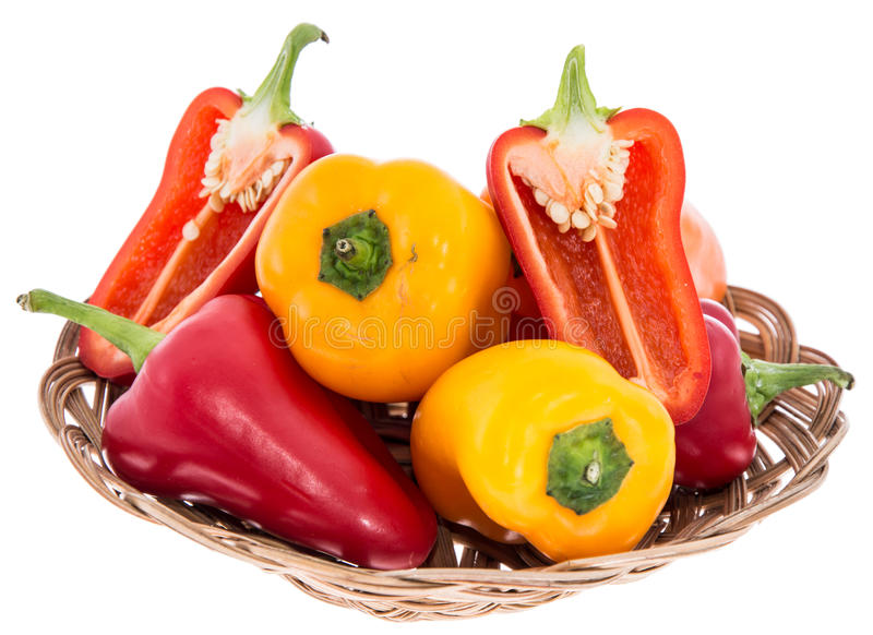 Small Basket with Paprikas stock photo