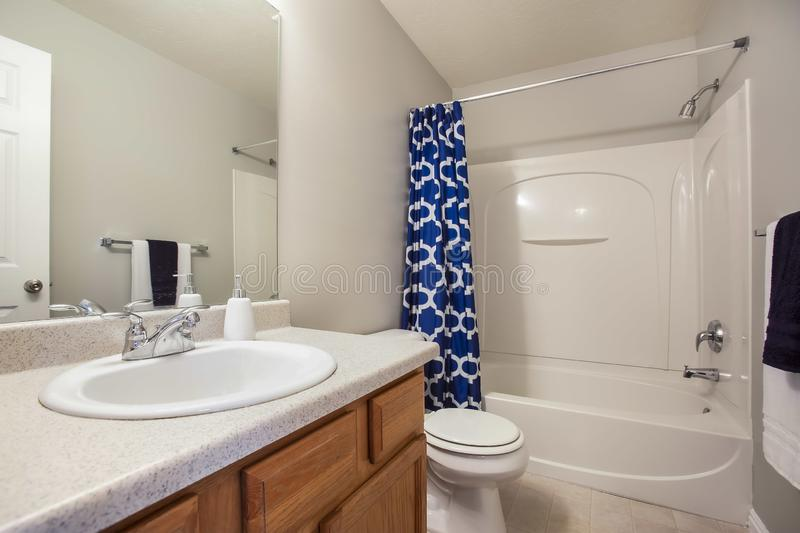 Small Bathroom Interior With A Vanity Unit And Toliet ...