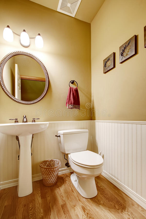 Small Bathroom With White Wall Trim Stock Image - Image of toilet ...