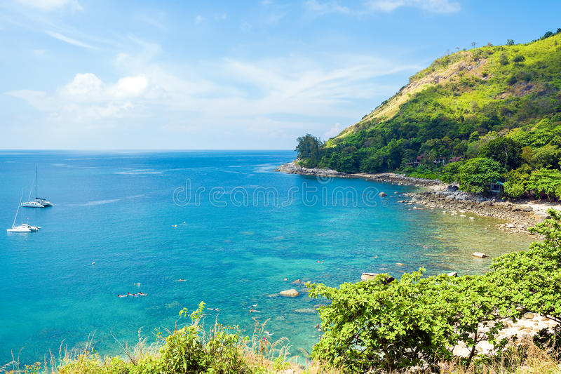A small bay Ao Sane is good for snorkeling. There are many colorful fish and corals. Phuket Island, Thailand royalty free stock photo