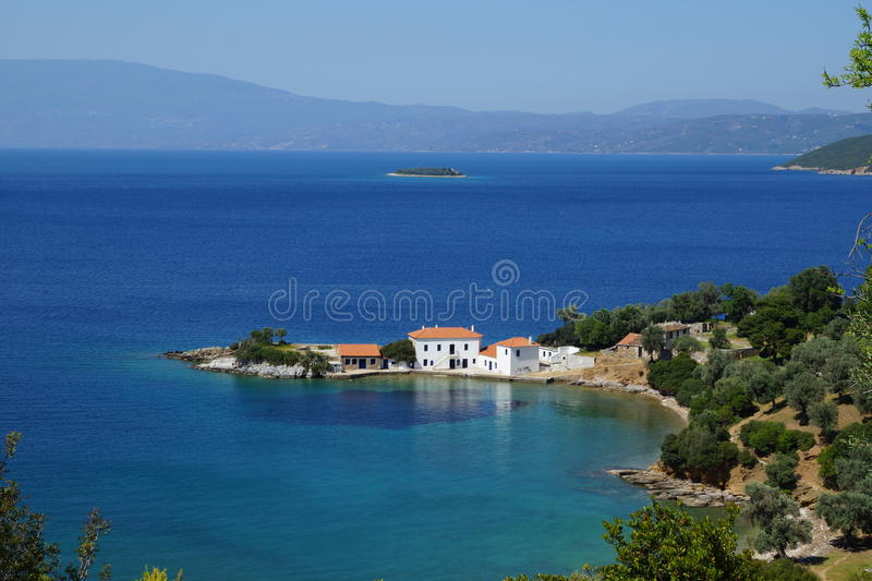 Small bay, Mount Pelion, Thessaly, Greece stock photos