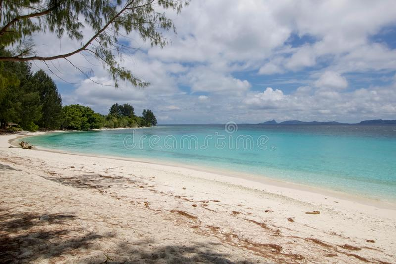 Small bay and tropical beach in raja ampat archipelago. West papua landscape stock images