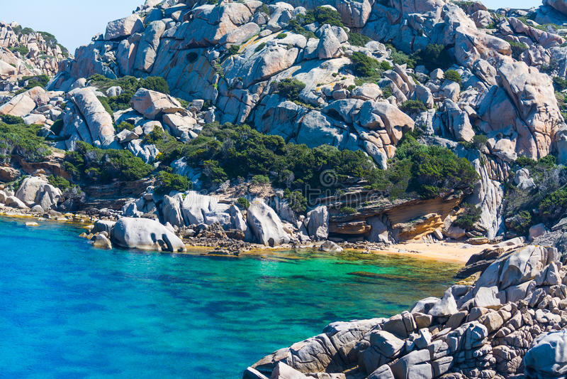 Small beach in Capo Testa royalty free stock photography