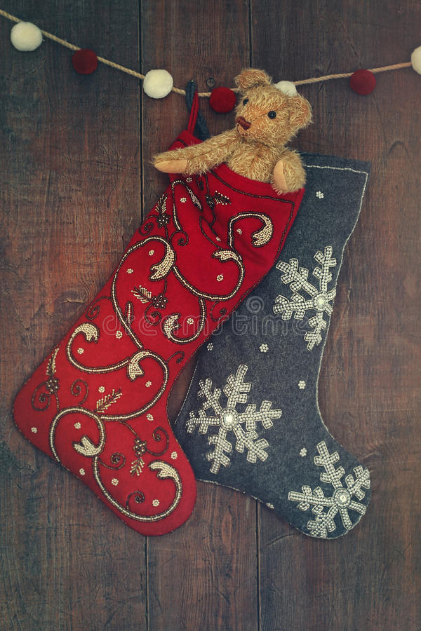 Small bear in stocking for Christmas royalty free stock photo