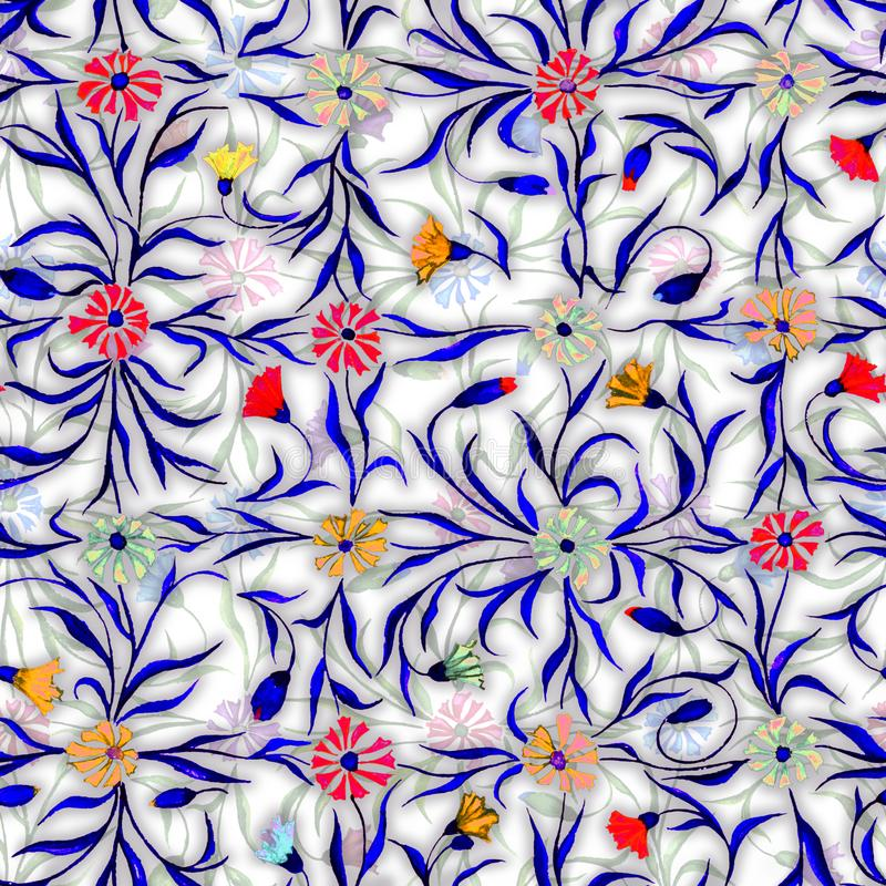 Small beautiful flowers with leaves on light background. Bright cornflowers in check seamless pattern. Watercolor painting. vector illustration