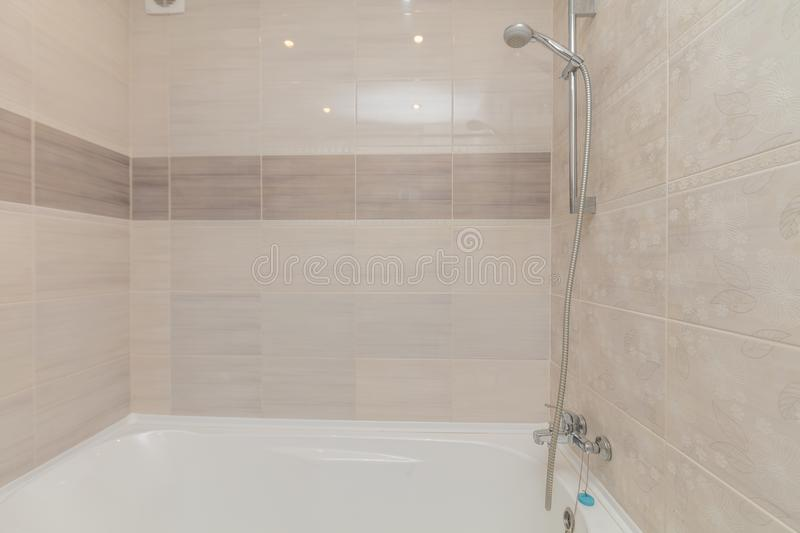 Small beige bathroom stock images