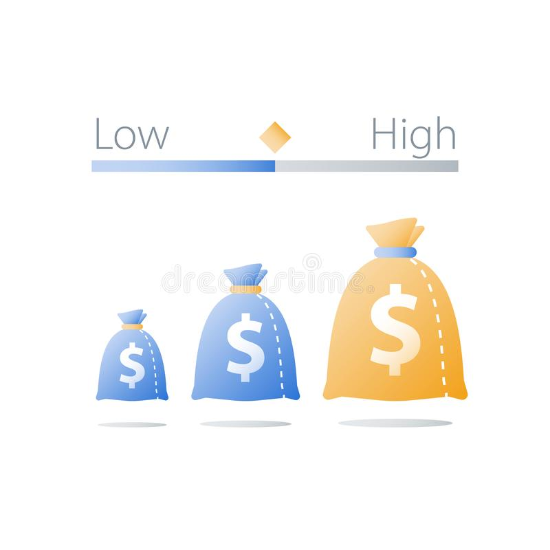 Small or big money bag, interest rate, low or high investment risk comparison, hedge fund, safe or insecure asset allocation. Low or high investment risk vector illustration