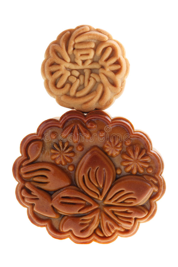 Small On Big Mooncake stock photography