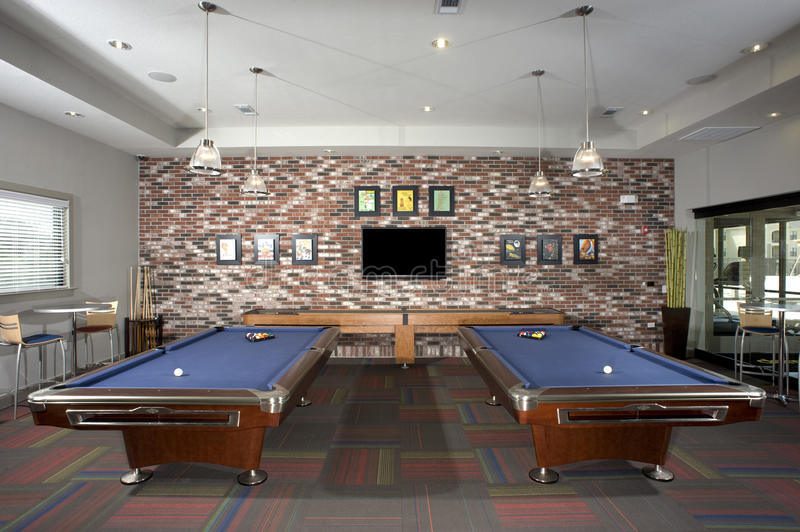 Small billiards room stock image image of party loft for Small pool table room ideas