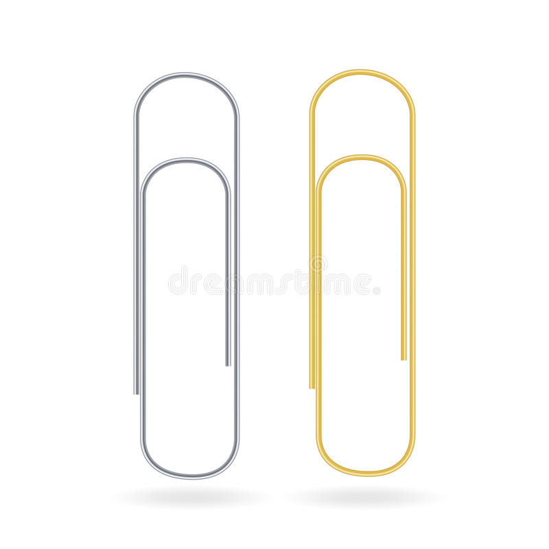 Small Binder Clips Vector Isolated On White. Realistic Paper Clip Set. Small Binder Clips Vector Isolated On White. Realistic Clip Set royalty free illustration