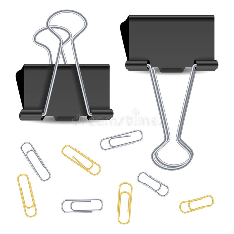 Small Binder Clips Vector Isolated On White. Realistic Paper Clip Set. Small Binder Clips Vector Isolated On White. Realistic Paper Clip vector illustration