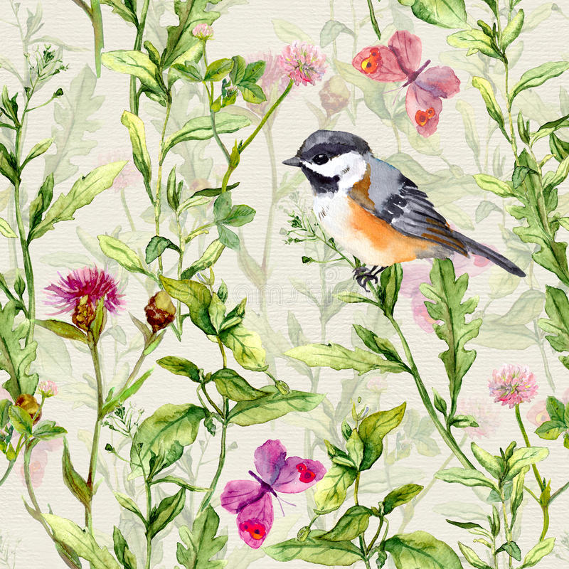 Small bird, spring meadow grass, flowers, butterflies. Repeating pattern. Watercolor stock images