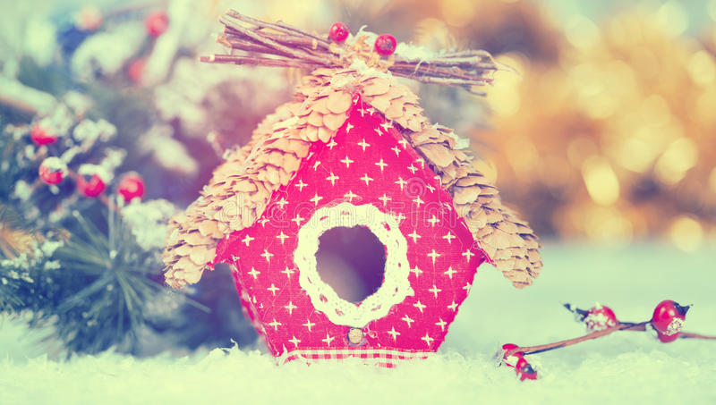 Small birdhouse Christmas decoration royalty free stock images