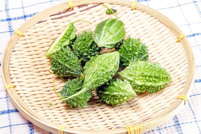 Small bitter gourd melon. Karela green vegetable royalty free stock photos
