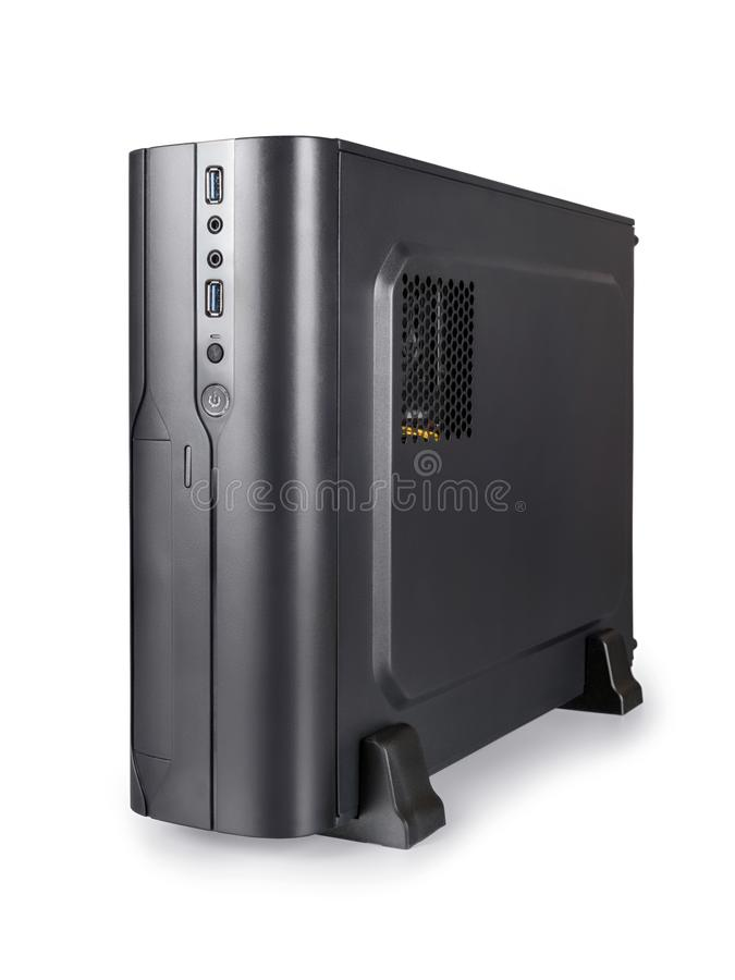 Small black desktop computer isolated with clipping path stock photo