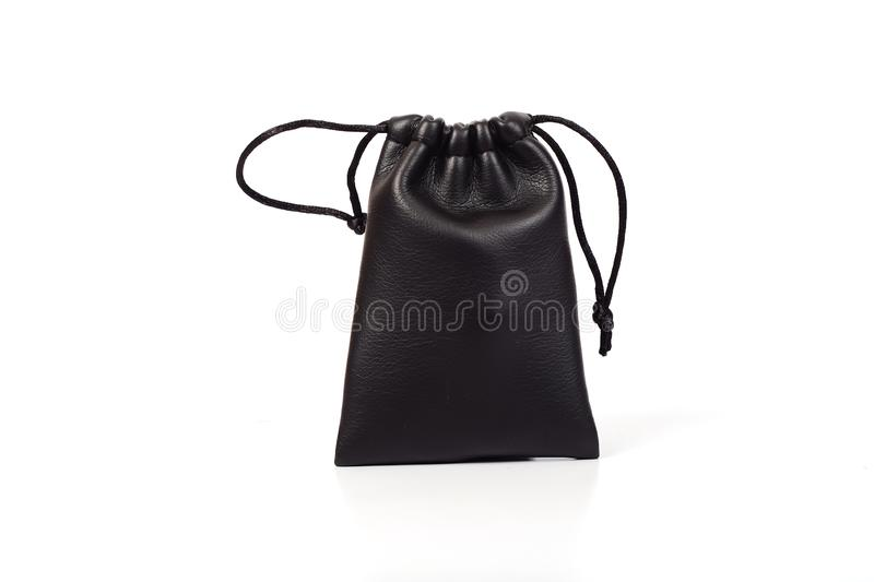 Small Black leather bag on white. Background stock photography