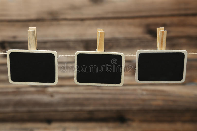 Small blackboard slate chalk board clip with space for text stock photography