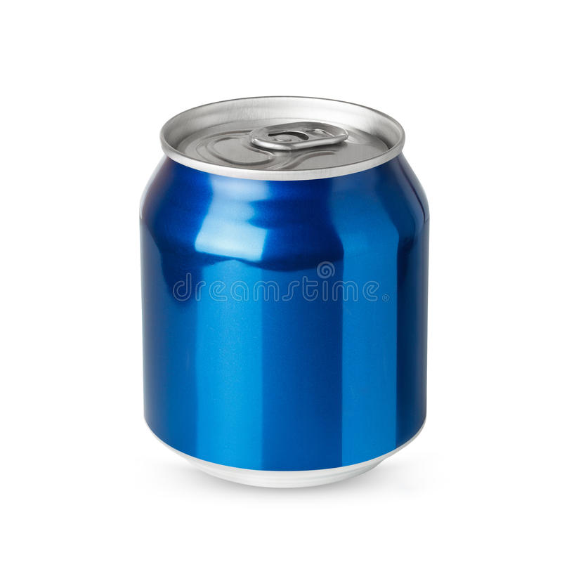 Small blue aluminum can. On white background royalty free stock photography
