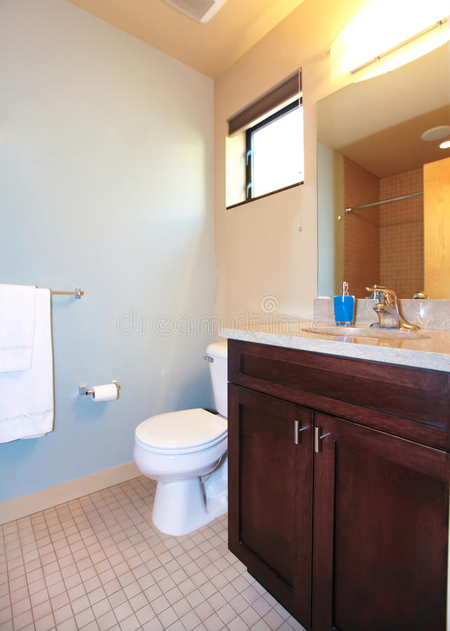 Small Blue Bathroom With Wood Cabinet Stock Image Image