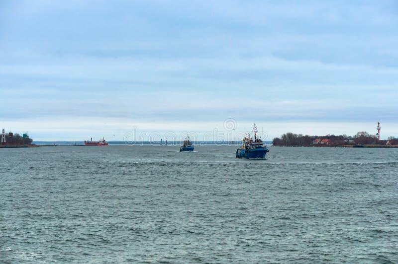 Small blue ship, small fishing boat. Small fishing boat, small blue ship, Baltic sea royalty free stock image