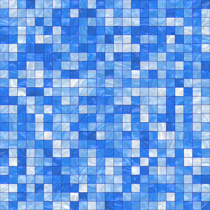 Small blue tiles. Smooth irregular blue background of bathroom or swimming pool tiles or wall, tiles seamlessly as a pattern stock illustration