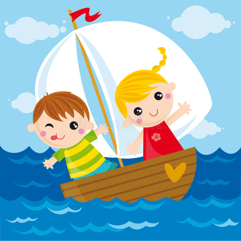 Small boat. Illustration of two kids sailing in the sea
