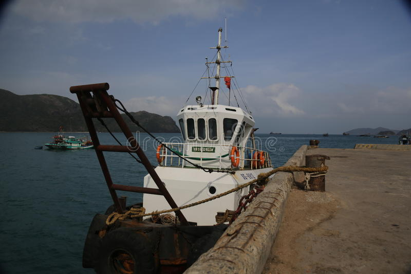 A small boat on Con Dao Island royalty free stock photography