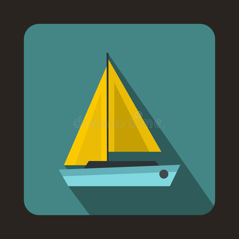 Small boat icon, flat style. Small boat icon in flat style with long shadow. Sea transport symbol stock illustration