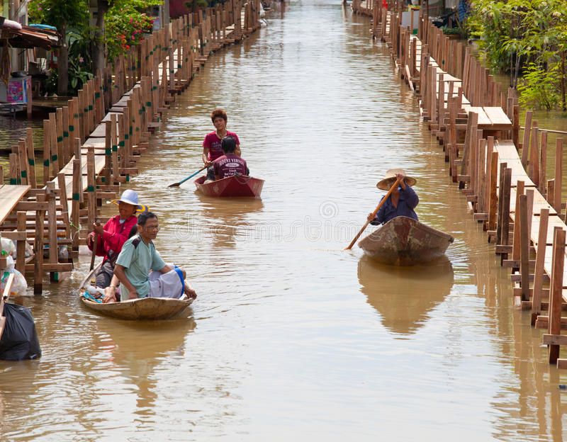 Download Small Boat During The Monsoon Flooding In Thailand Editorial Image - Image: 21572515