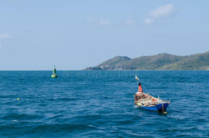 Small boat in the sea. royalty free stock image