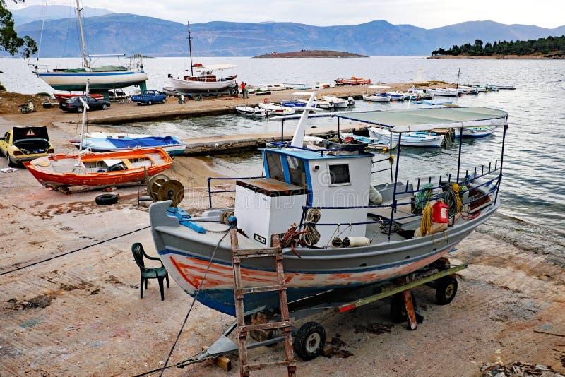 Boats in Dry Dock in Small Greek Shipyard, Greece stock photo