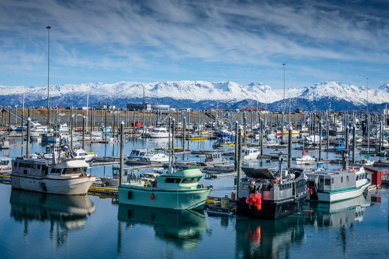Homer Alaska Fishing Harbor. Small boats, mostly for fishing. are reflected on the crystal clear blue water of the harbor in Homer, Alaska, with snow capped royalty free stock images