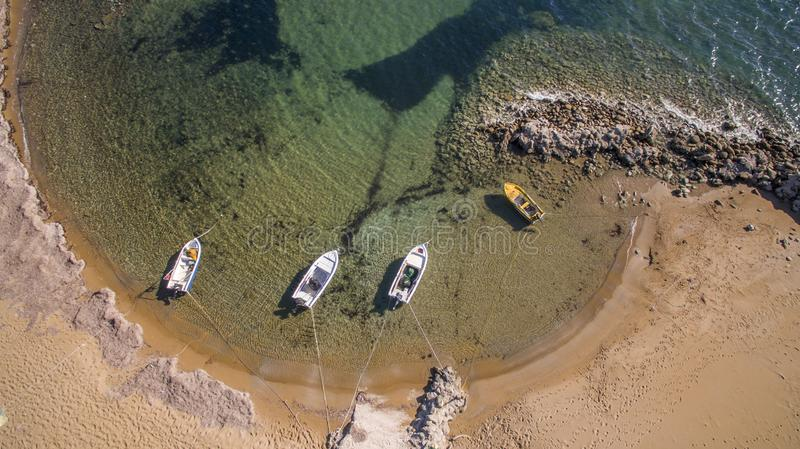 Small boats ,top view from a drone. Greece royalty free stock photography