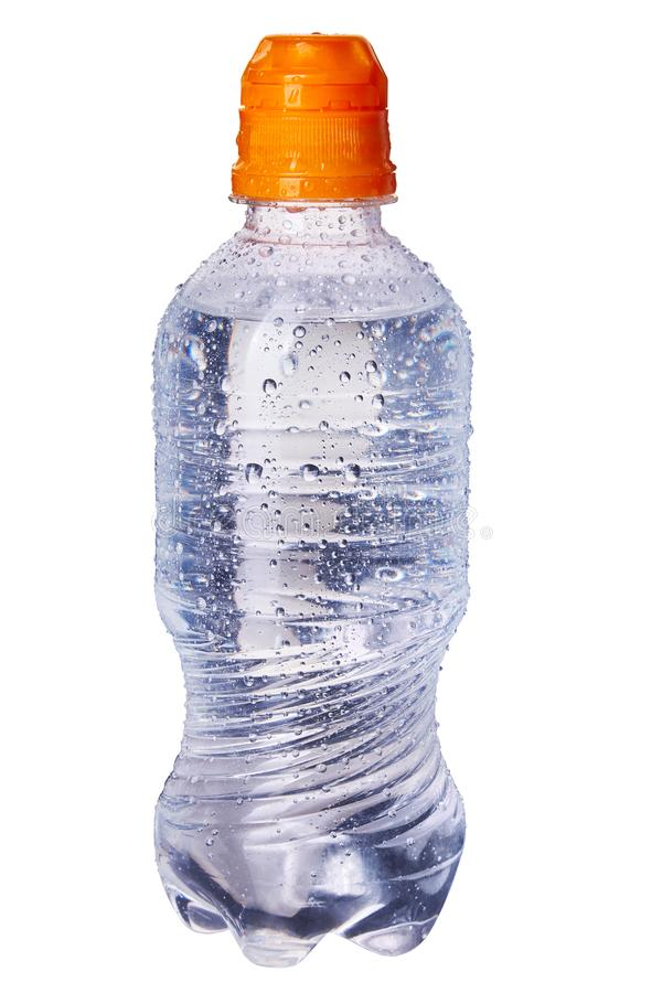 Small bottle of pure drinking water isolated on white background. Sports edition with orange cap. Newborn and baby purified water. 0.5 liter, 0.33 lites stock photography