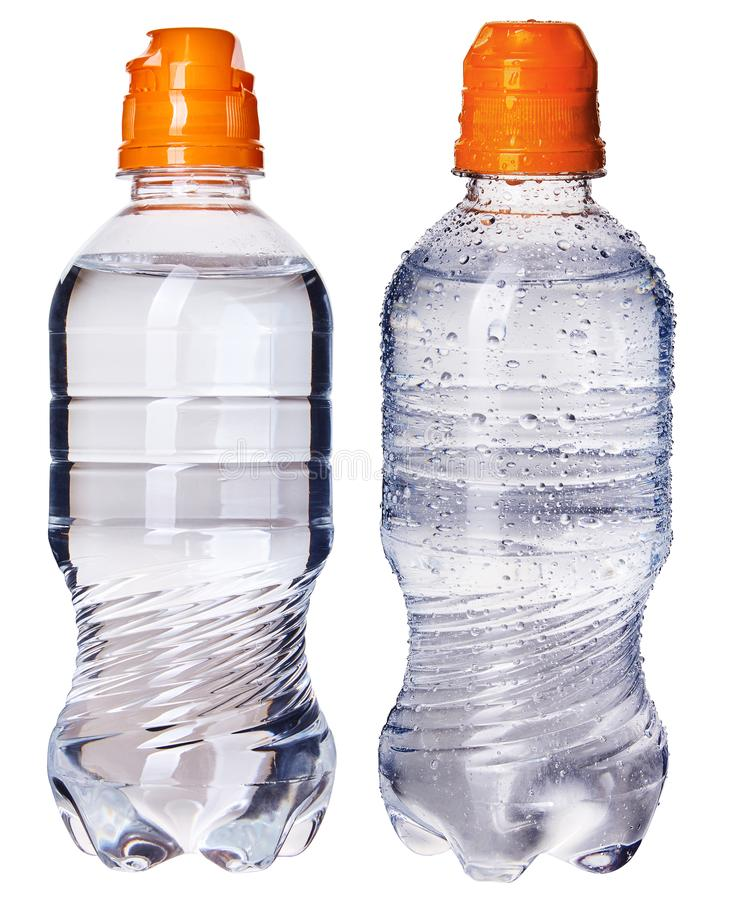 Small bottle of pure drinking water isolated on white background. Sports edition with orange cap. Newborn and baby purified water. royalty free stock photos