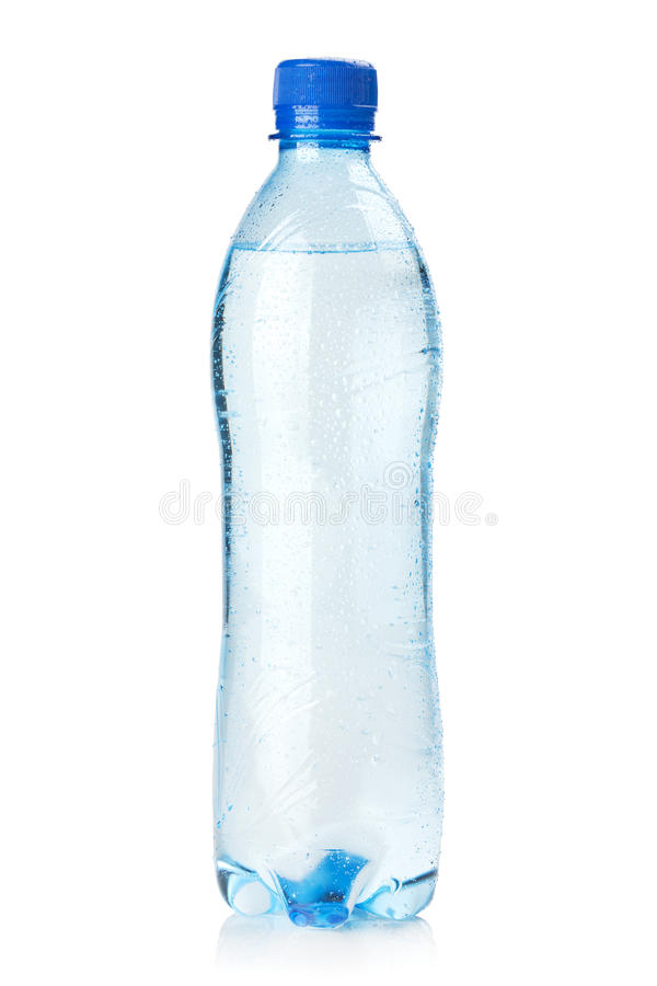 Small bottle of water. Isolated on white background royalty free stock photos