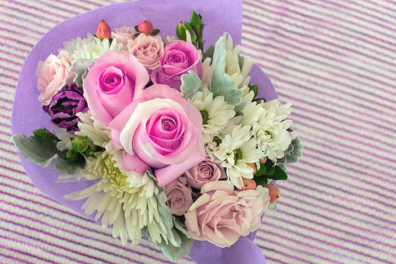 A small bouquet of pretty pink miniature roses on striped background. stock photography