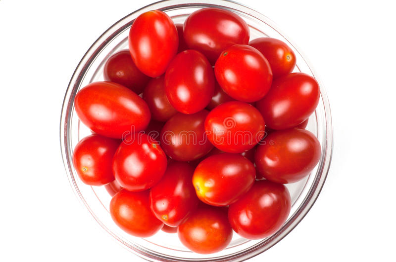 A small bowl of cherry tomatos, top view royalty free stock photography