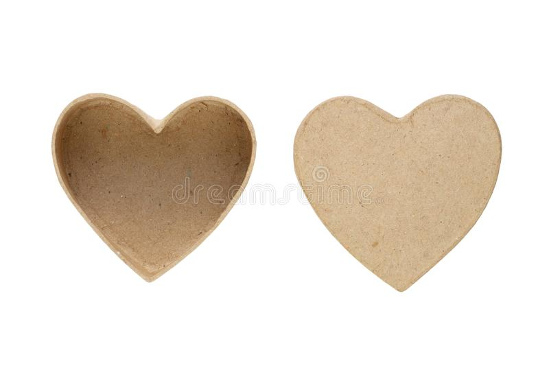 Small box and cover in shape of heart. Isolated on white background royalty free stock photo