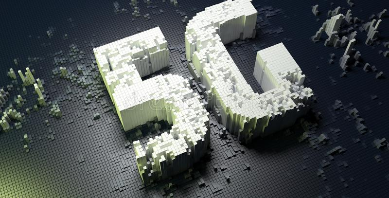 Small boxes forming the 5G symbol on dark digital background. 3D illustration. vector illustration