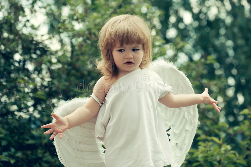 Small boy in angel wings royalty free stock photos